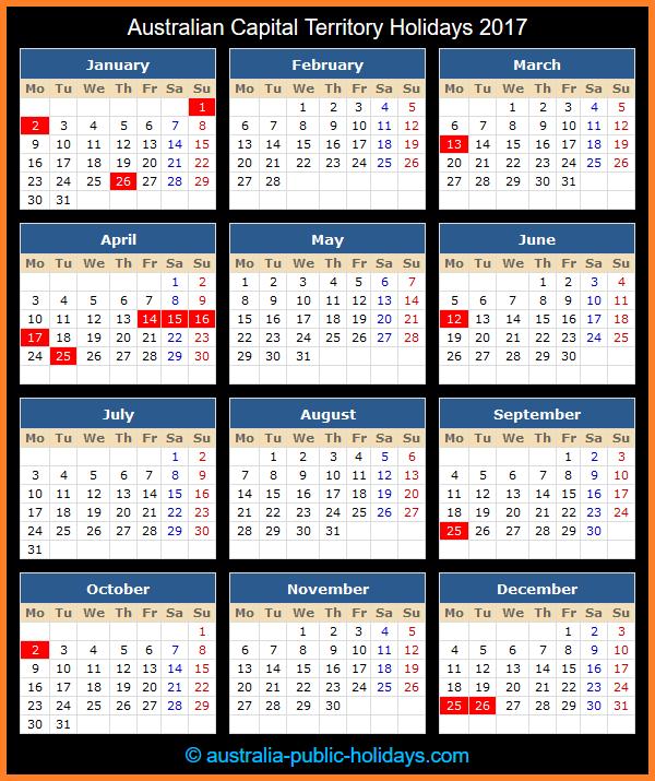 Australian Capital Territory Holiday Calendar 2017