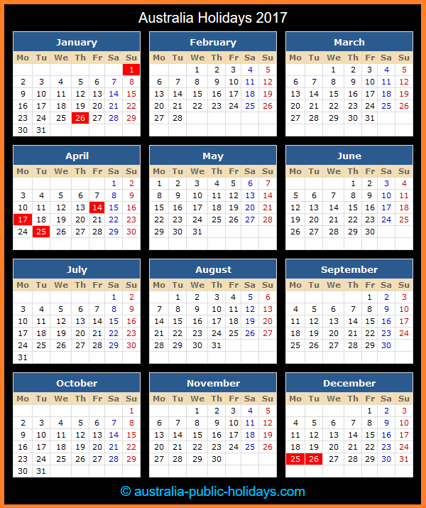 Australia Holiday Calendar 2017
