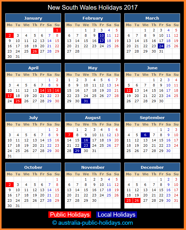 New South Wales Holiday Calendar 2017