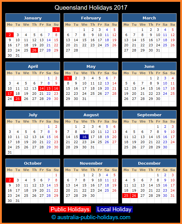 Queensland Holiday Calendar 2017