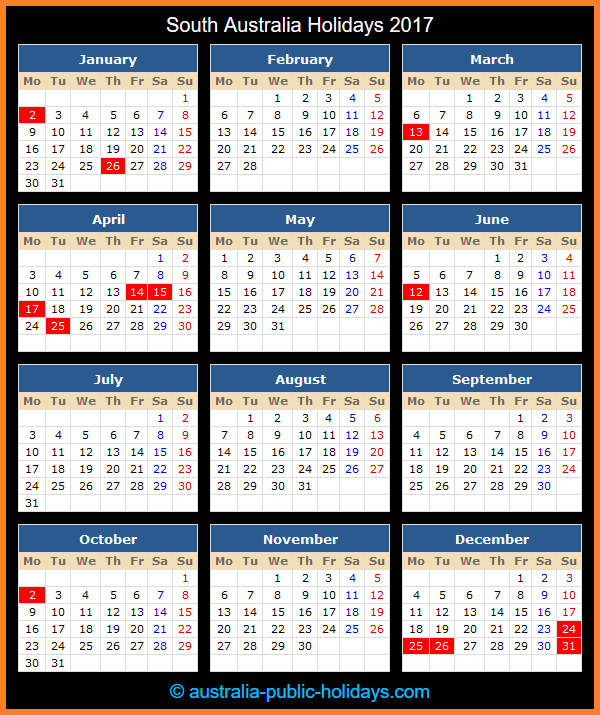 South Australia Holiday Calendar 2017