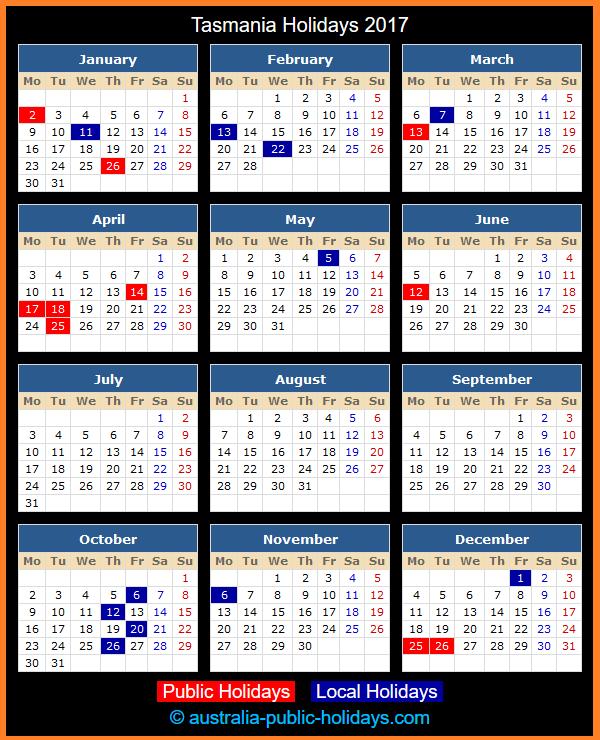 Tasmania Holiday Calendar 2017