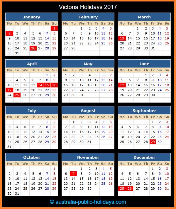 Victoria Holiday Calendar 2017