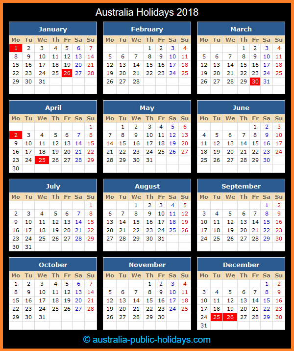 Australia Holiday Calendar 2018