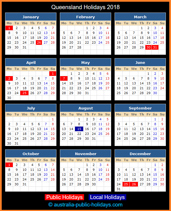 Queensland Holiday Calendar 2018