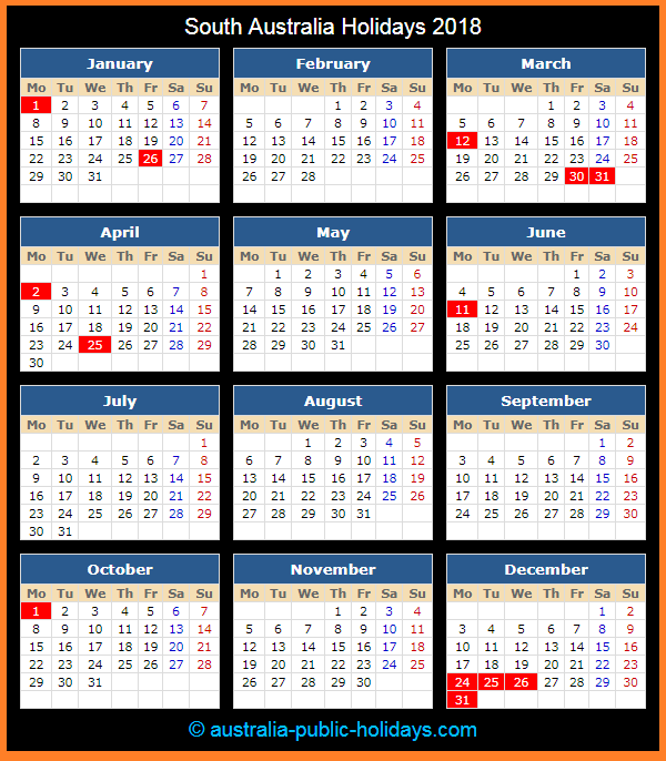 South Australia Holiday Calendar 2018