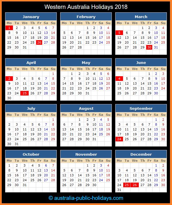 Western Australia Holiday Calendar 2018