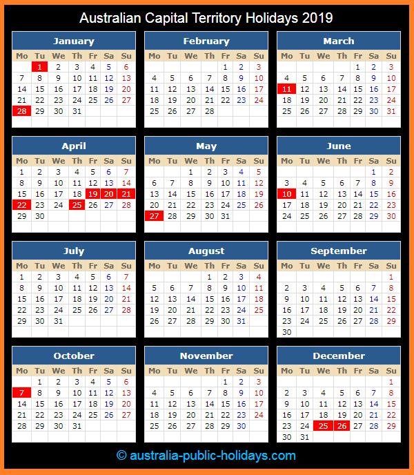 Australian Capital Territory Holiday Calendar 2019
