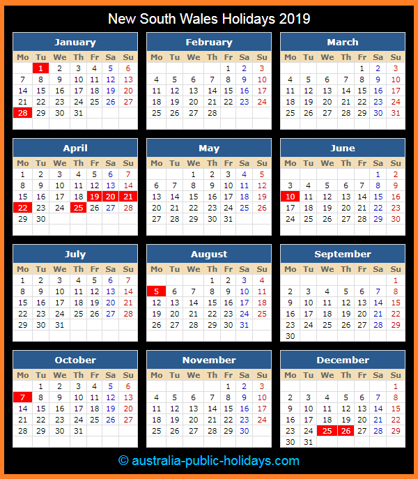 New South Wales Holiday Calendar 2019