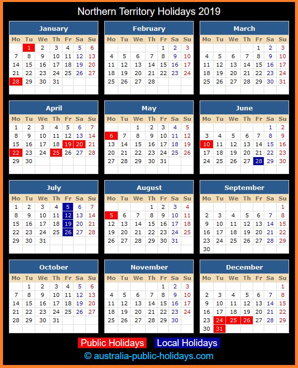 Northern Territory Holiday Calendar 2019