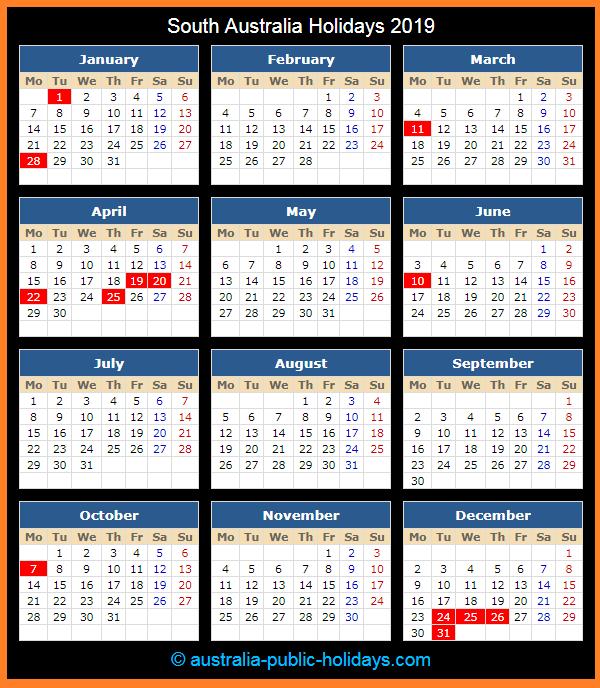 South Australia Holiday Calendar 2019