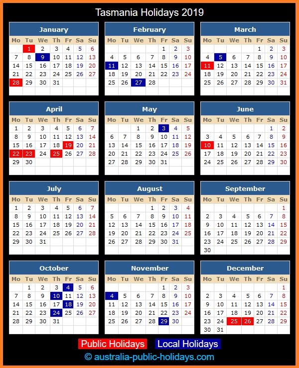 Tasmania Holiday Calendar 2019