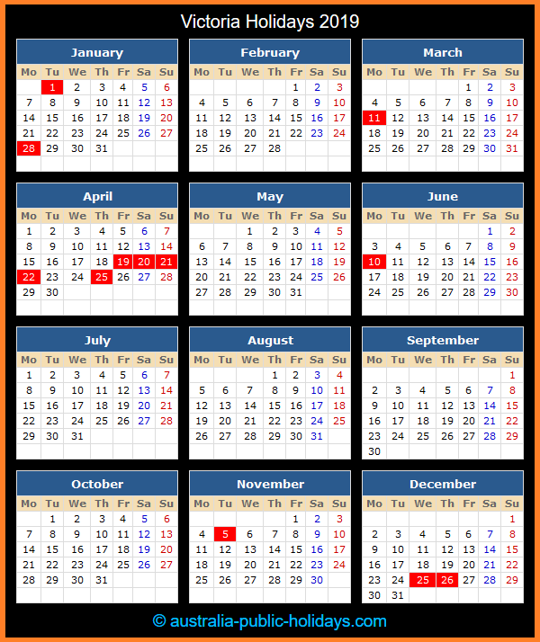 Victoria Holiday Calendar 2019
