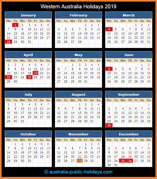 Western Australia Holiday Calendar 2019