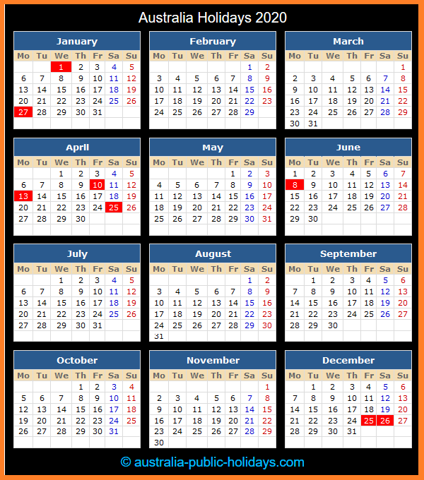 Australia Holiday Calendar 2020
