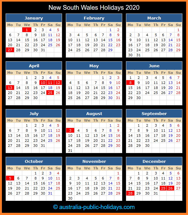 New South Wales Holiday Calendar 2020
