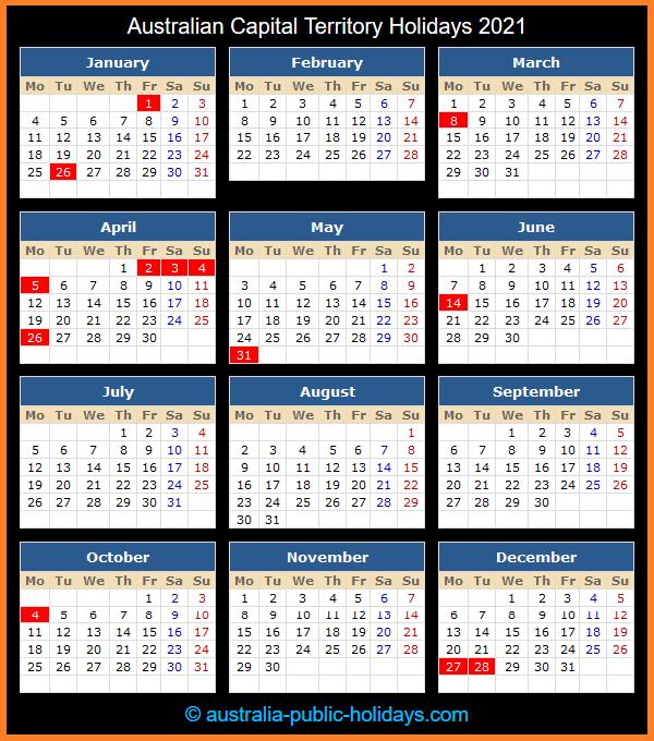 Australian Capital Territory Holiday Calendar 2021