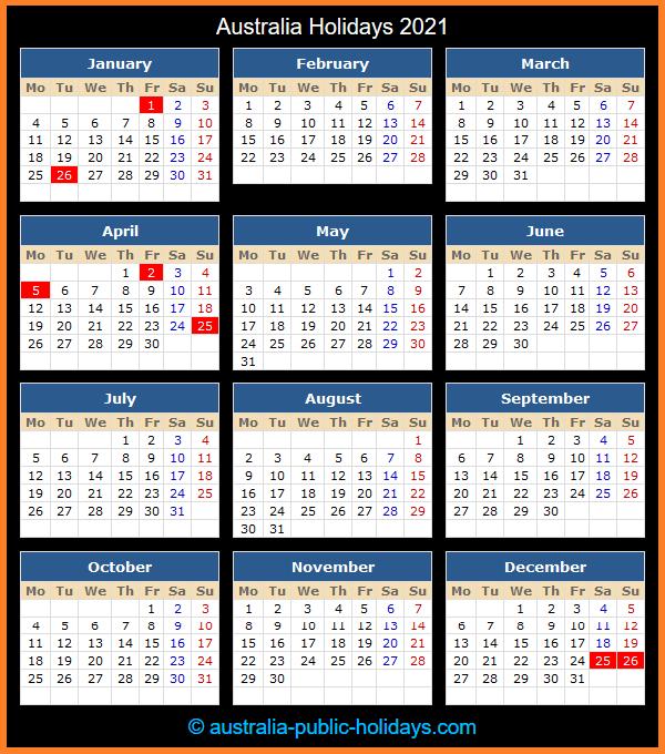 Australia Holiday Calendar 2021