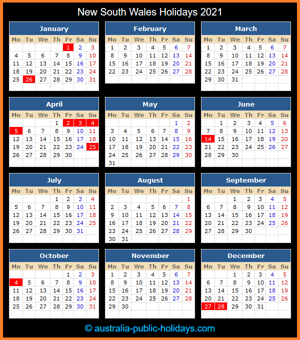 New South Wales Holiday Calendar 2021