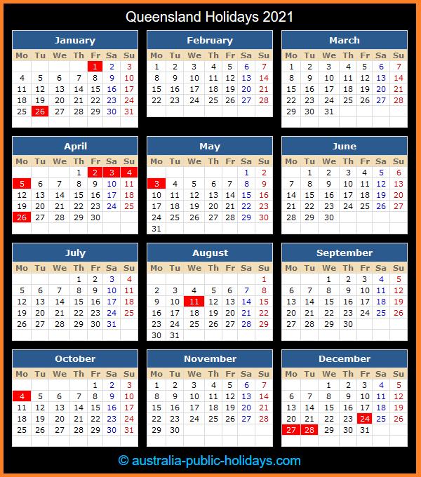Queensland Holiday Calendar 2021