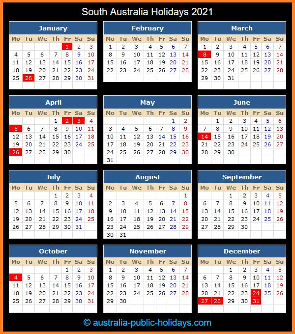 South Australia Holiday Calendar 2021