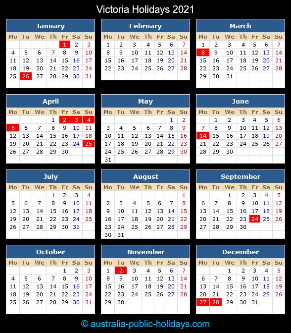 Victoria Holiday Calendar 2021
