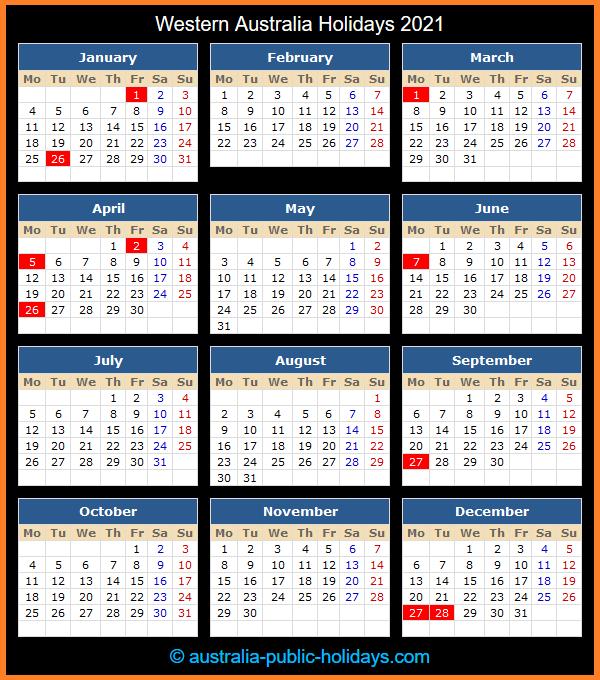 Western Australia Holiday Calendar 2021