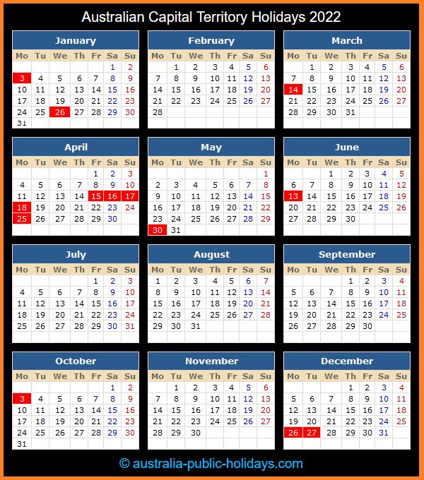 Australian Capital Territory Holiday Calendar 2022